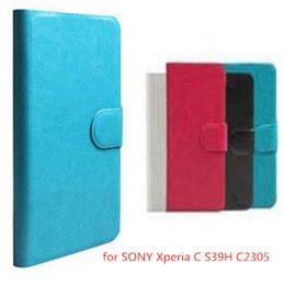 Wholesale Leather Case Xperia C - (1Pcs  lot) Hot Sell Original PU Leather Flip Cover Case For SONY Xperia C S39H C2305 Cell Phones Holster +Touch Pen Gift