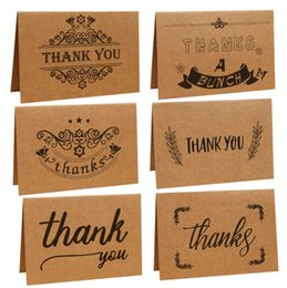 Wholesale Thank For Christmas Gift - Vintage Kraft Paper Thank you Greeting Cards with one Envelope for Birthday Christmas  Father's Days Mother 's Days Gifts