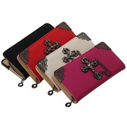 Wholesale Leather Front Pocket Wallet - Wholesale- Women wallet purse retro leather wallet with cross on front Long Chain Zip Purses women fashion Handbag Card Holder red RV641821