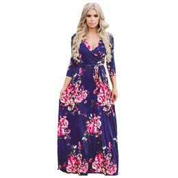 7ba8e0cc54b8 Women Floral Printing Dresses Vintage Casual Maxi Dress Fashion Contrast  Color Long Sleeve Pleated Party Dresses Vestidos