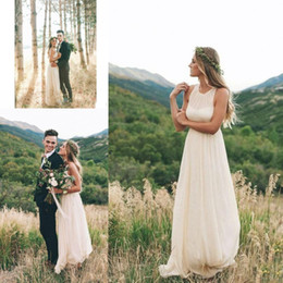 Wholesale Vintage Wedding Dresses Drop Ship - Simple Cheap Country Wedding Dresses Bohemain Style Chiffon Ivory 2017 Bridal Bridesmais Gowns Party Robe De Mariage Free Shipping
