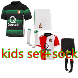 Wholesale Tops Soccer Boys - Free Shipping Top Quality KIDS Set 2017 2018 Feyenoord Rotterdam Football Shirt 17 18 New Kuyt Lex Immers Simon Kramer Home Soccer Jersey