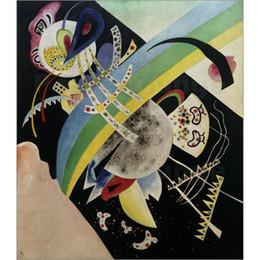 2019 modernen abstrakten kunstmalereien kreise Abstrakte moderne Kunst Kreise und Black-Wassily Kandinsky Ölgemälde Leinwand handbemalt rabatt modernen abstrakten kunstmalereien kreise