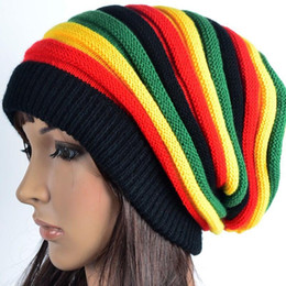 Wholesale Acrylic Rainbow Striped - Fashion Unisex Elastic Reggae Knitted Beanie Skull Hat Rainbow Striped Bonnet Hats Slouchy Spring Gorro Caps For Men And Women