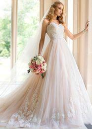 Wholesale Sexy Aline Wedding Dresses - Sweetheart Prince Aline Wedding Dress Online Light Blush Color Lace Up Tulle Circelee Bridal Gowns Plus Size Vestido De Noiva