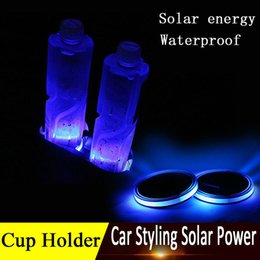 Wholesale Solar Black Light Led - Nww Solar Cup Holder Bottom Pad LED Light Cover Trim Atmosphere Lamp For All car Solar Led car cup mat