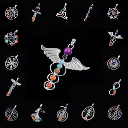 Wholesale Gemstone Pendants China Wholesalers - 20 Styles Silver Color And Religious 7 Chakra Crystal Pendant Religious Culture Women Jewelry Inlaid Gemstones Free DHL B912S