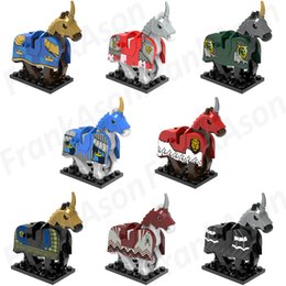 Wholesale Mixed Horse - 80pcs Mix Lot Battle Horse with Armor Minifig Medieval War Battle Horses with Armor Star Wars Super Hero X0158 Mini Building Blocks Figures