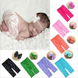 Wholesale Fairy Costumes Baby - Baby Clothing Newborn Photography Props Kids Lace Pants Headband Toddler Lace Hairbands Trousers Costumes Suit Outfits Kids Clothes B2817