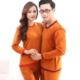 Wholesale Thick Thermal Underwear Velvet - Wholesale- XL-3XL Winter Warm Velvet Thick Lover Thermal Clothes Pajamas Plus Size O-neck Thermal Underwear For Women Men's Long Johns