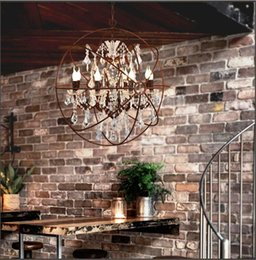 Wholesale Modern Country Pendant Lamp - Country Hardware Vintage Orb Crystal Chandelier Lighting RH Rustic Iron Candle Chandeliers Light Globe LED Pendant Lamp Home Decoration