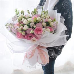 Malla de envoltura de flores online-5 Rollo de Malla Encaje Papel de Envolver Coreano Gasa Flor Suministros de embalaje de Regalo Color Liso Floristería Decoración Floral 10 yardas