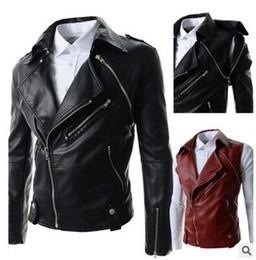 Wholesale Korean Leather Winter Jackets - 2017 Korean Fashion Coat Autumn Winter Warm Man Pu Leather Jacket Men'S Casual Coats Male Chaqueta Hombre Top Design Black Red Coat for men