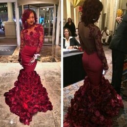 Wholesale Africa Flowers - Luxury Africa Evening Dresses High Neck Long Sleeves Mermaid Prom Dresses With Applique Open Back Custom Made Formal Occasion Party Gowns