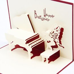 Wholesale Piano 3d - Piano Birthday Card 3D Kirigami Pop Up Card Handmade Angel Greeting Gift Cards Happy Birthday Day Free shipping
