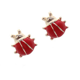 Wholesale Korean Gold Jewellery - Cute 1cm red ladybug stud earrings cheap price fashion jewelry for girls women korean style jewellery new styal 2017