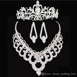 plating hair styles Promo Codes - new Bridal crowns Accessories Tiaras Hair Necklace Earrings Accessories Wedding Jewelry Sets cheap price fashion style bride