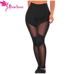 Wholesale Sheer Leggings Pants - Slim Fashion Black Sheer Mesh Fitness High Waist Gym Leggings LC77001 Athletic Trousers Elastic Jegging Sport Pants 17410