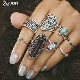 Wholesale Turkish Turquoise Jewelry - Zeyan 8pcs Set Boho Jewelry Stone Midi Ring Sets for Women Vintage Turkish Silver Flower Knuckle Rings Party Gift ZYJZ006