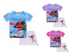 Wholesale Kids Tshirt Cotton Girl - MOANA Baby Girl Clothes Summer Casual Sets Children's Cotton T-shirt+Dress Tshirt +short Pants 2 PCS Suits Birthday Kids Clothing