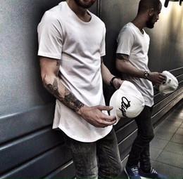 Wholesale Mens Plain Black T Shirt - Mens fashion Clothing designer trends Clothes Hip Hop T shirt homme Curved hem Tee plain Extended T shirt Kpop