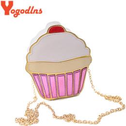 Wholesale Funny Phones - Yogodlns CUTE!Funny Ice Cream Cake Bag Small Crossbody Bags For Women Cute Purse Handbags Chain Messenger Bag Party Bag