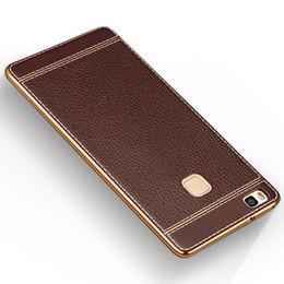 Caja del teléfono g9 online-Litchi de lujo pintura de grano suave TPU caso de la contraportada para Huawei P7 P8 P9 Lite P9 Plus G9 bolsa de teléfono Fundas Coque caso