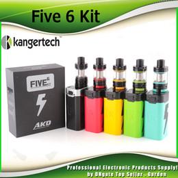 Wholesale Kanger Kits - Original Kanger AKD Five 6 Starter Kits By 5pcs 18650 Battery 220w Mod 8ml Top Filling KangerTech Five6 Atomizer Tiger Coils 100% Genuine