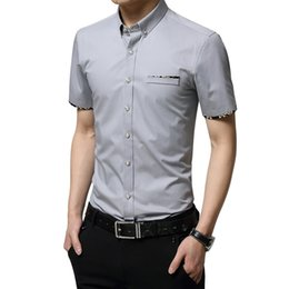 Wholesale Korean Clothing Mens Dress Shirts - Wholesale- Hot Sale 2016 New Arrival Solid Short Sleeve Shirt Men Fashion Brand Clothing Casual Korean Slim Fit Business Mens Dress Shirts