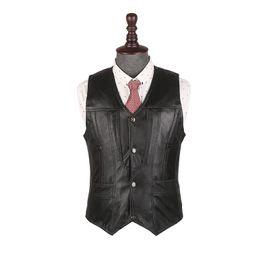 Wholesale Men Sleeveless Leather Jacket - Wholesale- Business Casual Mens Vests Spring Autumn Genuine Leather Waistcoat Stylish Designer Sleeveless Jacket Loose Mens Clothing