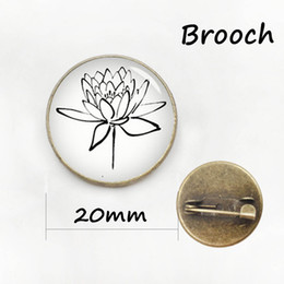 Wholesale Clover Brooch Pin - Latest fashion four leaf clover pin plant beautiful flower Art Picture Glass Cabochon badge women wedding jewelry brooch