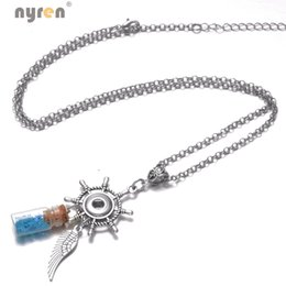 Wholesale Multi Circle Silver Necklace - Multi Styles Snap Charms Pendant Necklace ID Lanyard Hanger Link Chain Leather Rope Chain 12 18mm Snap Button Jewelry Snap Necklace Jewelry