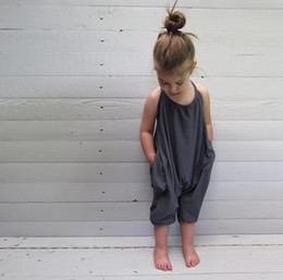 Wholesale Boys Child Suspenders - Kids rompers 2017 fashion boys girls suspenders leisure slip jumsuits kids onesies romper children cotton romper clothing A0311