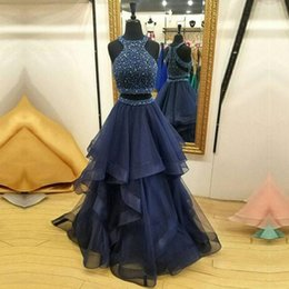 Wholesale Custom Silver Charms - Hot Sale Charming Two Pieces Navy Blue Long Evening Dresses Sweep Train Ruffles Beaded Formal Evening Gowns Vestido De Noite Prom Dresses