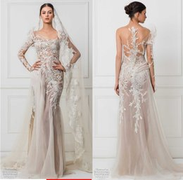 Wholesale Embroidered Short White Dress - one side long sleeves sheath wedding dresses 2017 maison yeya bridal heavily embroidered bodice lace illusion lace back sweep train