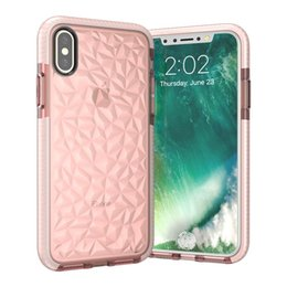 Wholesale Blue Iphone Case Pc - Diamond Pattern Transparent Colorful TPU PC Shockproof Cover Case For iPhone X 8 7 6S Plus OPP BAG