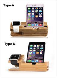 Staffe di legno online-Supporto di ricarica in legno di qualità superiore monta stazione di ricarica per docking station per iphone 6 6 plus 5S e Apple Watch iwatch 38mm 42mm