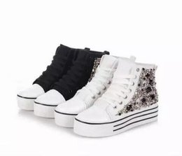 Wholesale Platform School Shoes - Womens School Canvas Creeper Platform Sneakers Ankle Boot Shoes Cover With spike