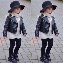 Wholesale Denim Jacket Leather - Girl Clothes Motorcycle PU Leather Jacket Biker Coat Overcoat Black Winter Autumn Long Sleeve Outwear