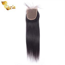 18 polegadas de cabelo malaysian on-line-Alta Qualidade Top Fechamentos de Renda 4X4 Suíço Brasileiro Malaio Indiano Peruano Virgem Reta Fechamentos Do Cabelo Humano 8-20 polegadas Em Estoque
