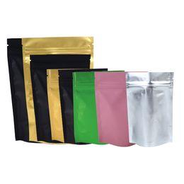 Wholesale Gusset Bags - Multi Size Black  Gold  Green  Pink  Silver Storage Ziplock Gusset Bag Heat Sealing Metallic Mylar Zip Lock Stand Up Bags 100pcs