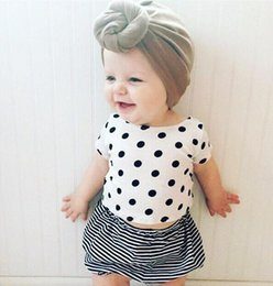 Wholesale Girls Polka Dot Stripe Pants - kids summer clothes suits baby girl polka dot top tees with matching stripe pp pants 2pcs sets