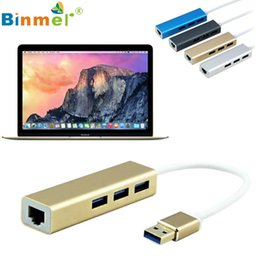 Wholesale macbook window - Wholesale- USB 3.0 to RJ45 10 100 1000M Lan Card Gigabit Ethernet Network Adapter+3 Port Hub for Macbook Windows 10 U0302