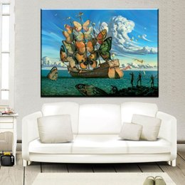 Wholesale Abstract Figure Drawing - ZZ2060 Salvador Dali Still life butterfly and ship oil Painting Drawing art Spray Unframed Canvas art HD poster for living room