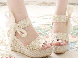 Wholesale Bandage Sandals - Summer Bohemian shierying bandage fish-mouths wedge heels women shoes sandals 35-39