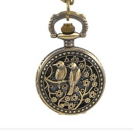 Wholesale Small Glass Flower - Small 30MM small unisex mens women boys girls flower double love birds retro pocket watch hollow gift chain pendant watches