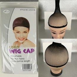 Wholesale Elastic Wig Caps - 20 pcs NEW Fishnet Wig Cap Stretchable Elastic Hair Net Snood Wig Cap Black Color Hair Net Wig Net Free Shipping Fishnet Weaving