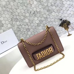 Wholesale Mini Jewellery - J'ADIOR Flap Bag with Chain in Calfskin Leather Carried in Hand Aged Gold-Tone Metal Jewellery come with dust bag+Box Free Shipping