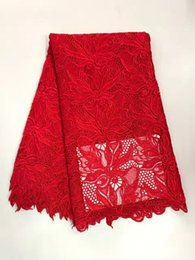 Wholesale Embroidery For African Clothes - 5Y pc Hot sale red flowers design african water soluble lace embroidery french mesh cord lace for clothes RW15-7