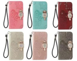 Wholesale Flip Paint - Bling Diamond Embossed Painted Pattern Flip Holster Card PU Leather wallet case for iphone X 8G 7 plus 6S plus 5S Samsung S8 PLUS NOTE8